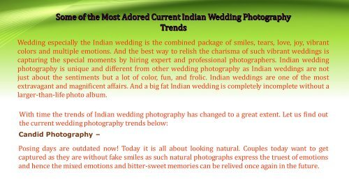 Some of the Most Adored Current Indian Wedding Photography Trends