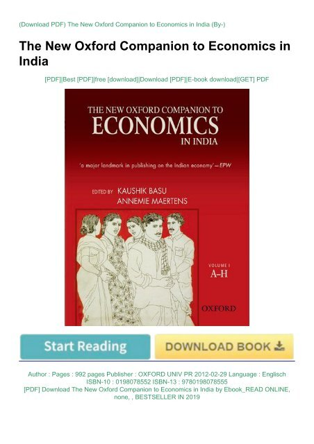 PDF] Download The New Oxford Companion to Economics in India by