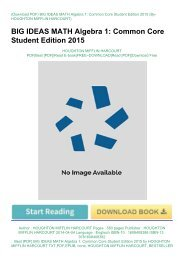 Best [PDF] BIG IDEAS MATH Algebra 1: Common Core Student Edition 2015 by HOUGHTON MIFFLIN HARCOURT TXT,PDF,EPUB
