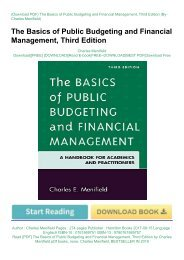 Read [PDF] The Basics of Public Budgeting and Financial Management, Third Edition by Charles Menifield pDf books