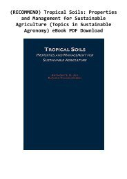 (RECOMMEND) Tropical Soils: Properties and Management for Sustainable Agriculture (Topics in Sustainable Agronomy) eBook PDF Download
