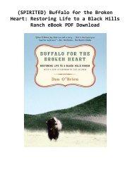 (SPIRITED) Buffalo for the Broken Heart: Restoring Life to a Black Hills Ranch eBook PDF Download