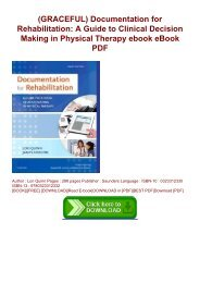 (GRACEFUL) Documentation for Rehabilitation: A Guide to Clinical Decision Making in Physical Therapy ebook eBook PDF