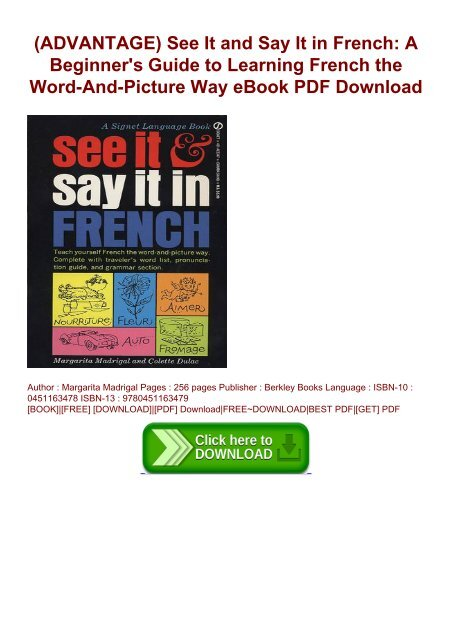 French For Beginners Pdf