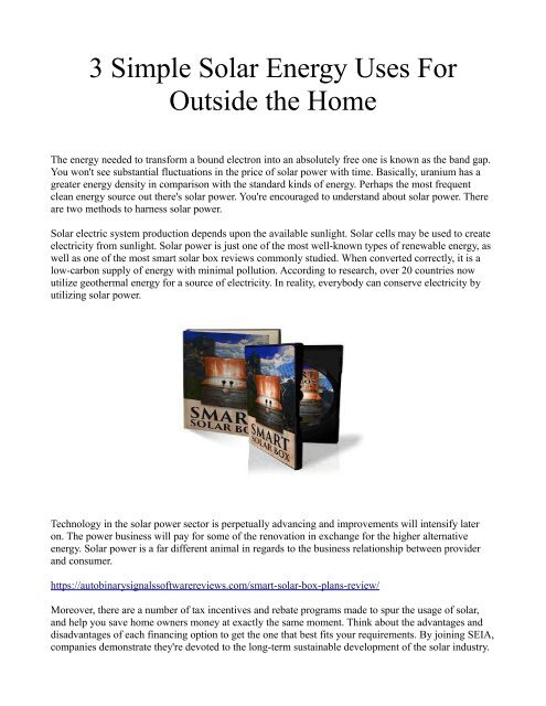 3 Simple Solar Energy Uses For Outside the Home
