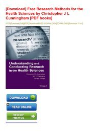 [Download] Free Research Methods for the Health Sciences by Christopher J L Cunningham [PDF books]