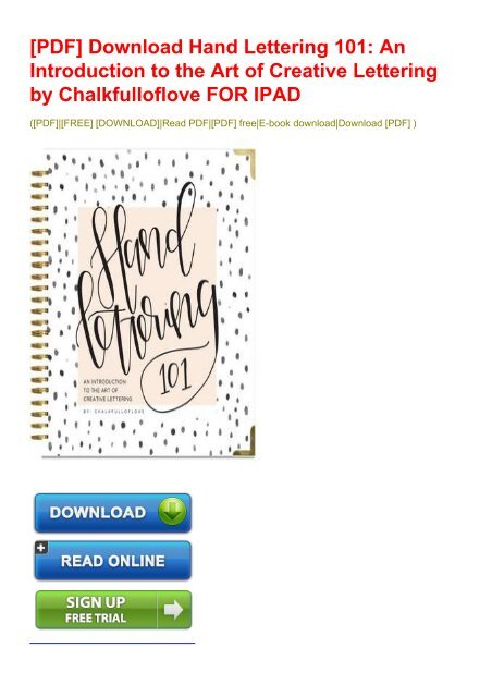 PDF] Download Hand Lettering 101: An Introduction to the Art