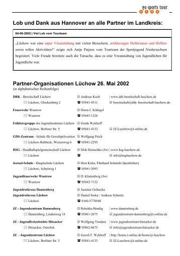 Lob und Dank aus Hannover an alle Partner im Landkreis: Partner ...