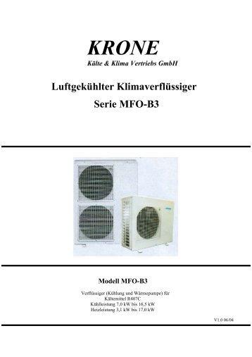 Luftgekühlter Klimaverflüssiger Serie MFO-B3 - KRONE Kälte ...