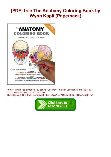 PDF] Free The Anatomy Coloring Book By Wynn Kapit (Paperback)