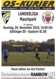 Saison 18/19 - SpTg 15: Gö̈ttingen 05 - Goslarer SC 08