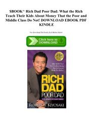 $BOOK^ Rich Dad Poor Dad What the Rich Teach Their Kids About Money That the Poor and Middle Class Do Not! DOWNLOAD EBOOK PDF KINDLE