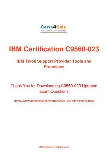 C9560-023 Exam Dumps - IBM Cloud & Smarter Infrastructure Exam Questions PDF