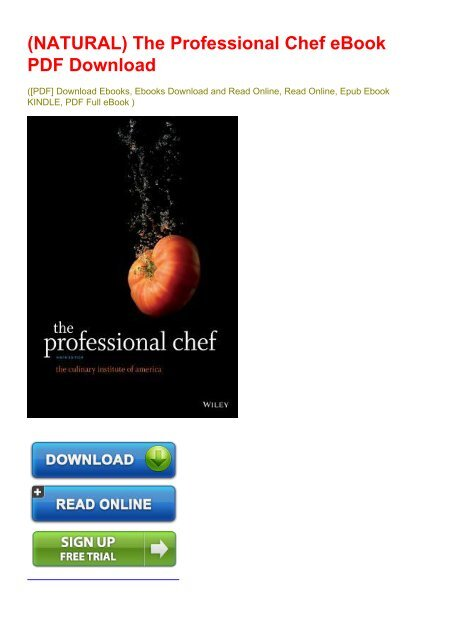 NATURAL) The Professional Chef eBook PDF Download