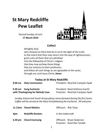 St Mary Redcliffe Church Pew leaflet, March 17 2019
