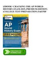 (EBOOK CRACKING-THE-AP-WORLD-HISTORY-EXAM-2019 -PREMIUM-EDITION-(COLLEGE-TEST-PREPARATION) Full PDF