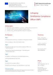 Seminar Compliance: Lehrgang Zertifizierter Compliance Officer - S&P Unternehmerforum - Produktnummer: A 14