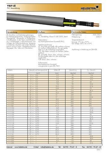YSLY-JZ - Datenblatt - Kabel und Leitungen