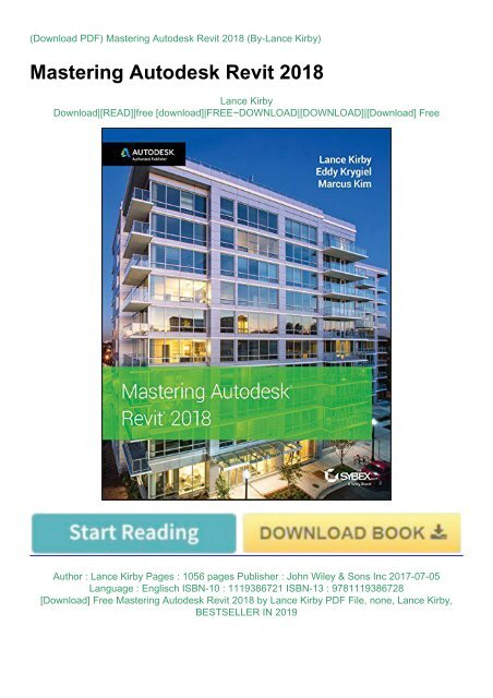 Download] Free Mastering Autodesk Revit 2018 by Lance Kirby