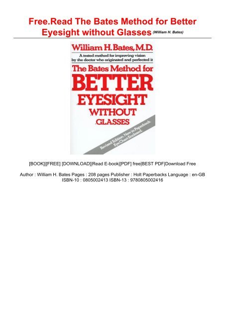 Bates method for better eyesight without glasses pdf ...