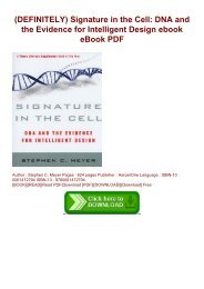 (DEFINITELY) Signature in the Cell: DNA and the Evidence for Intelligent Design ebook eBook PDF