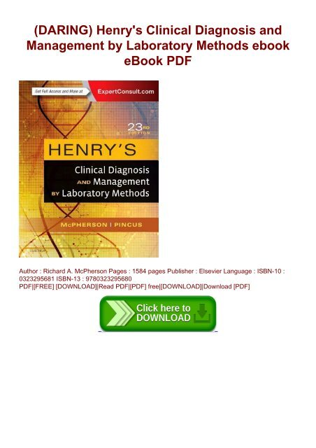 DARING) Henry's Clinical Diagnosis and Management by