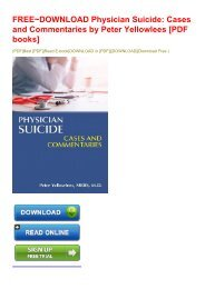 FREE~DOWNLOAD Physician Suicide: Cases and Commentaries by Peter Yellowlees [PDF books]
