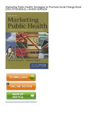 [FREE] [DOWNLOAD] Marketing Public Health: Strategies to Promote Social Change by Ellissa Resnick For Online