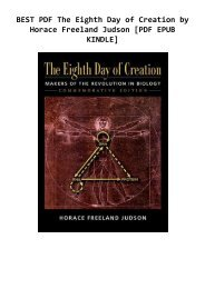 BEST PDF The Eighth Day of Creation by Horace Freeland Judson [PDF EPUB KINDLE]