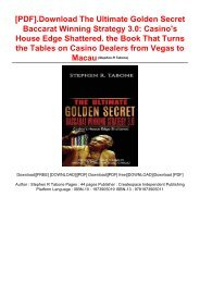 [PDF].Download The Ultimate Golden Secret Baccarat Winning Strategy 3.0: Casino's House Edge Shattered. the Book That Turns the Tables on Casino Dealers from Vegas to Macau
