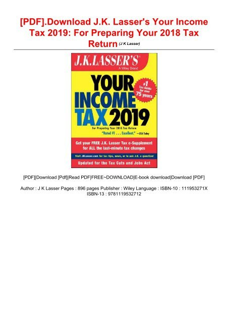 PDF] Download J K  Lasser's Your Income Tax 2019: For