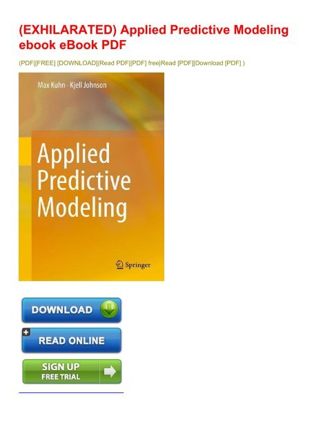 applied predictive modeling pdf free download