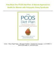 Free.Read The PCOS Diet Plan: A Natural Approach to Health for Women with Polycystic Ovary Syndrome