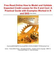Free.Read.Online How to Model and Validate Expected Credit Losses for Ifrs 9 and Cecl: A Practical Guide with Examples Worked in R and SAS