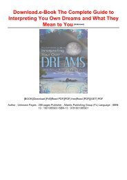 Download.e-Book The Complete Guide to Interpreting You Own Dreams and What They Mean to You