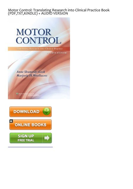 motor control translating research into clinical practice pdf download