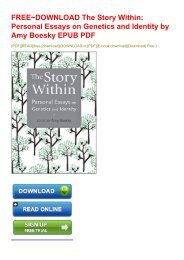 FREE~DOWNLOAD The Story Within: Personal Essays on Genetics and Identity by Amy Boesky EPUB PDF