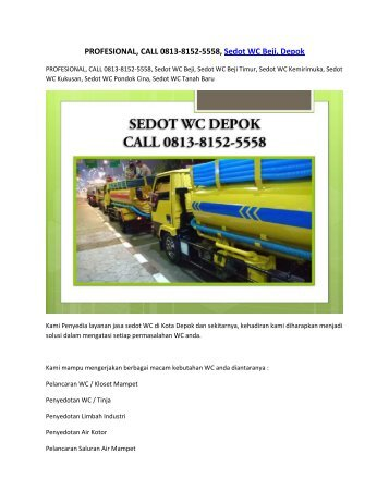 PROFESIONAL, CALL 0813-8152-5558, Sedot WC Beji, Depok