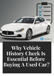 Why vehicle history check is essential befor buying a used car