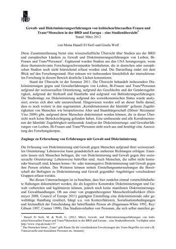 """""""Gewalt/Diskriminierung von lsb_FT*"""" (Volltext) - Verband lesbischer ..."""