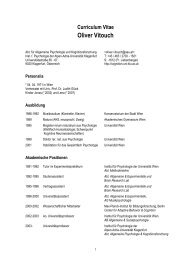 Curriculum Vitae Oliver Vitouch - Allgemeine Psychologie und ...