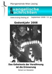 Gedenkjahr 2008 Das Geheimnis der Versöhnung ist die Erinnerung