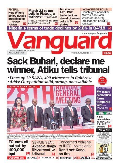 19032019 - Sack Buhari, declare me winner, Atiku tells tribunal