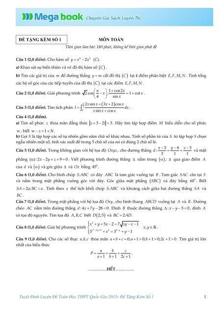 Tuyệt Đỉnh Luyện Đề THPT Quốc Gia môn Toán, Lý, Hóa, Sinh, Anh - Mega book