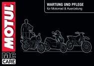 MC Care Prospekt - WARTUNG UND PFLEGE  für Motorrad & Ausrüstung