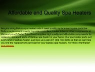 Affordable and Quality Spa Heaters