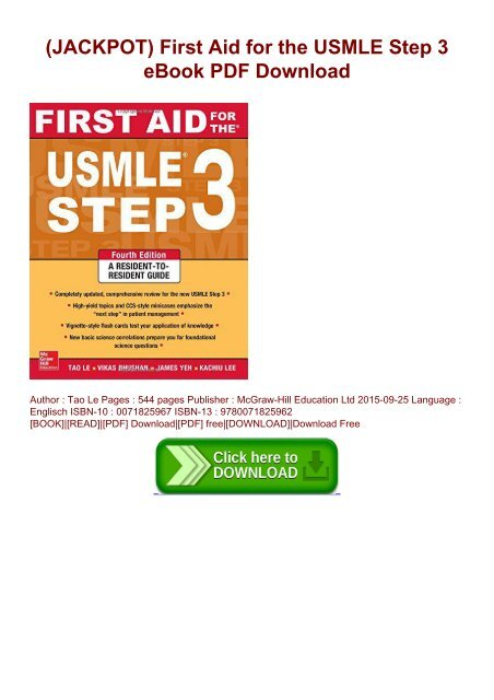 JACKPOT) First Aid for the USMLE Step 3 eBook PDF Download