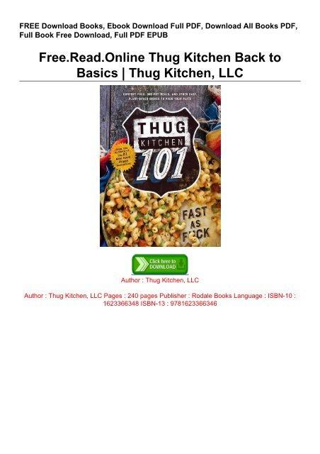 Free Read Online Thug Kitchen Back To Basics Thug Kitchen Llc