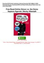 Free.Read.Online Simon vs. the Homo Sapiens Agenda | Becky Albertalli