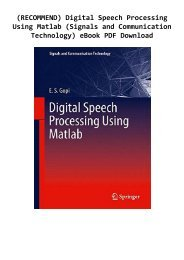 (RECOMMEND) Digital Speech Processing Using Matlab (Signals and Communication Technology) eBook PDF Download